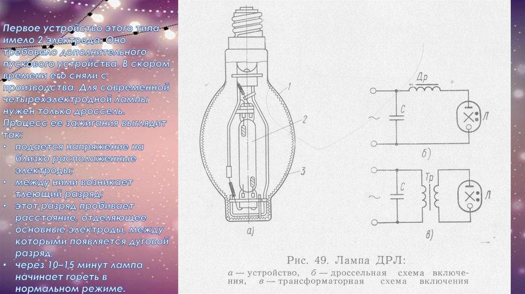 Лампы дpл. дуговые ртутно люминесцентные. дрв.  дуговые ртутно вольфрамовые.