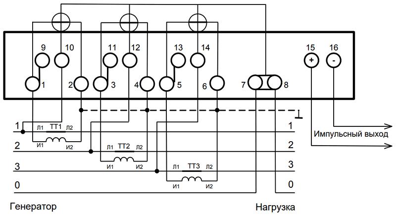 Схема подключения счетчика через трансформаторы тока меркурий