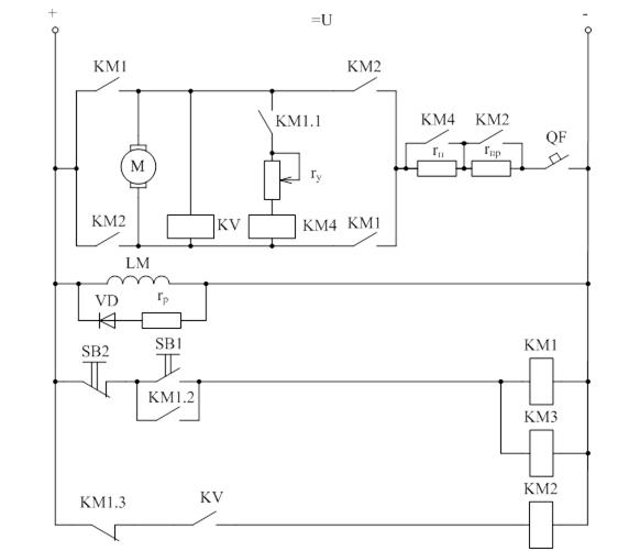 Типовая схема пуска двигателя постоянного тока с независимым возбуждением в функции времени