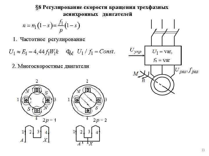 Управление трехфазными двигателями, способы регулирования скорости двигателей