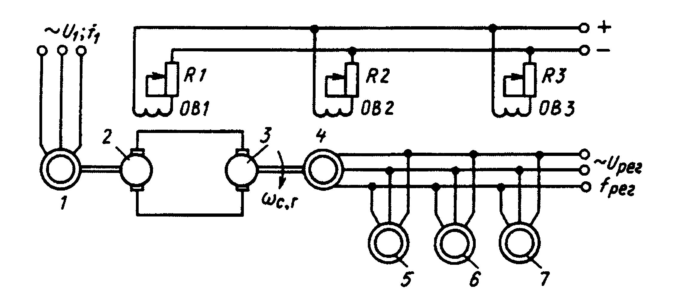 § 251. схема каскадного соединения, при которой возможен плавный переход главного двигателя через синхронную скорость