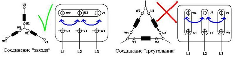 Схема подключения двигателя звезда треугольник