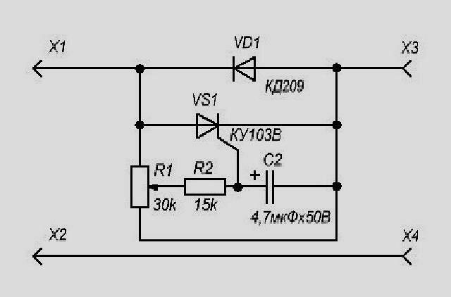 Схема тиристорного регулятора больших выпрямленных токов