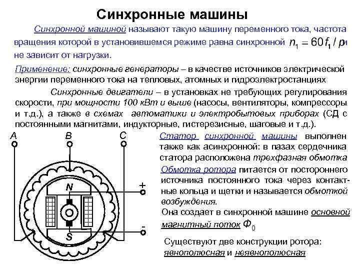 Назначение и устройство синхронных машин
