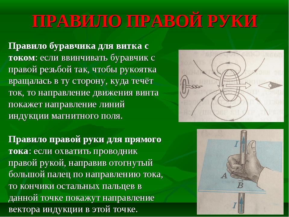 Правило буравчика, правой и левой руки