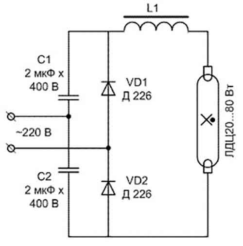 Для чего нужен стартер и дроссель в схемах включения люминесцентных ламп