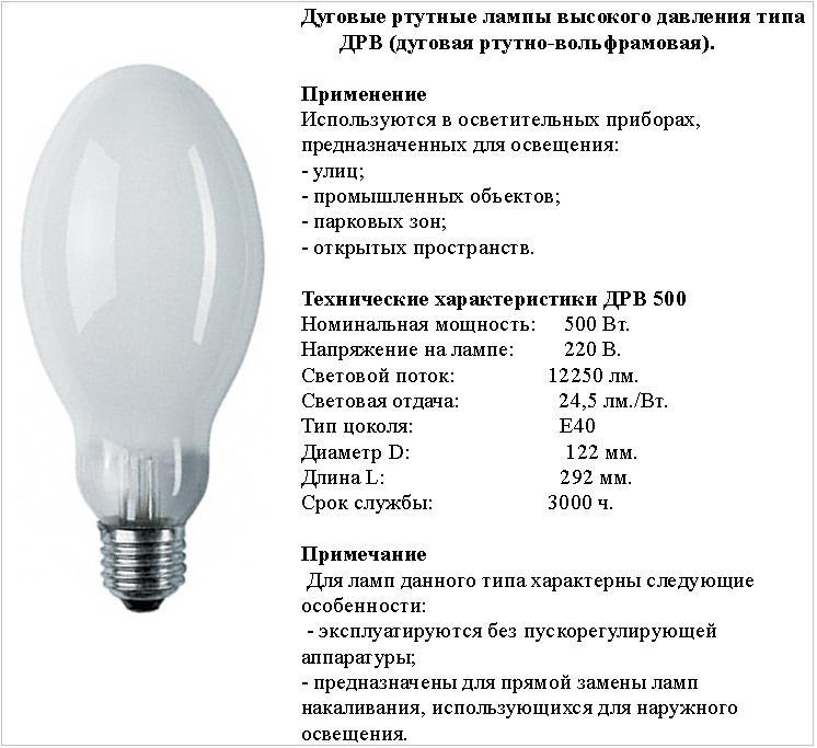 Лампа освещения дрл