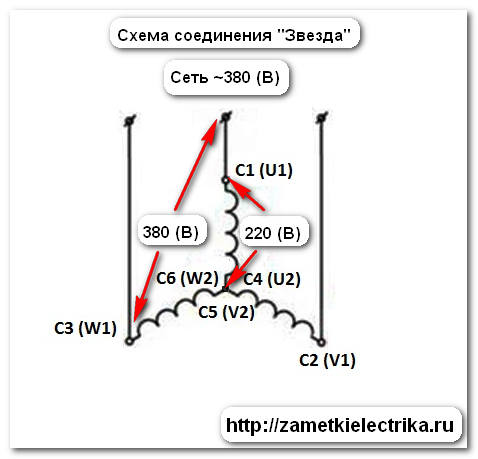 Соединение обмоток двигателя звездой и треугольником